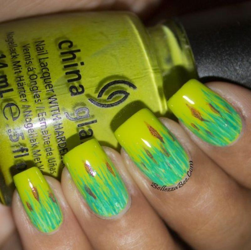Green Green Grass nail art by Naomi Hing
