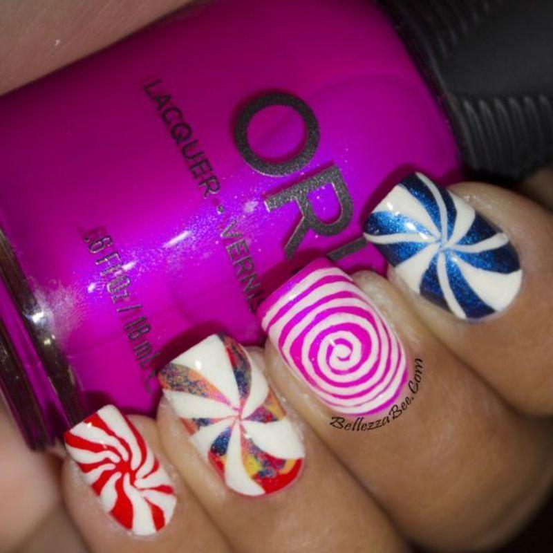 Swirly Sweets nail art by Naomi Hing