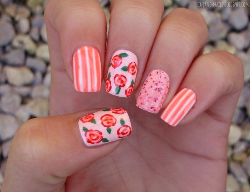 Pink Skittlette nail art by Sanela