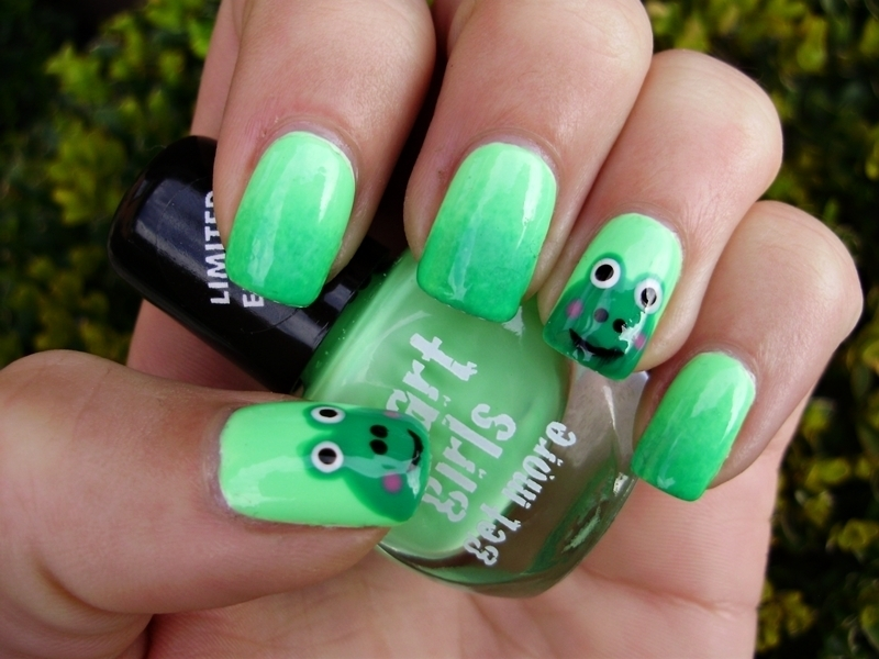 Frog nails nail art by Sanela