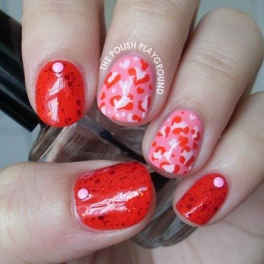 Pink Leopard Hearts and Studs nail art by Lisa N