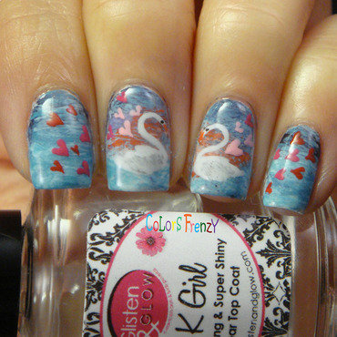 Love Swan nail art by Novi