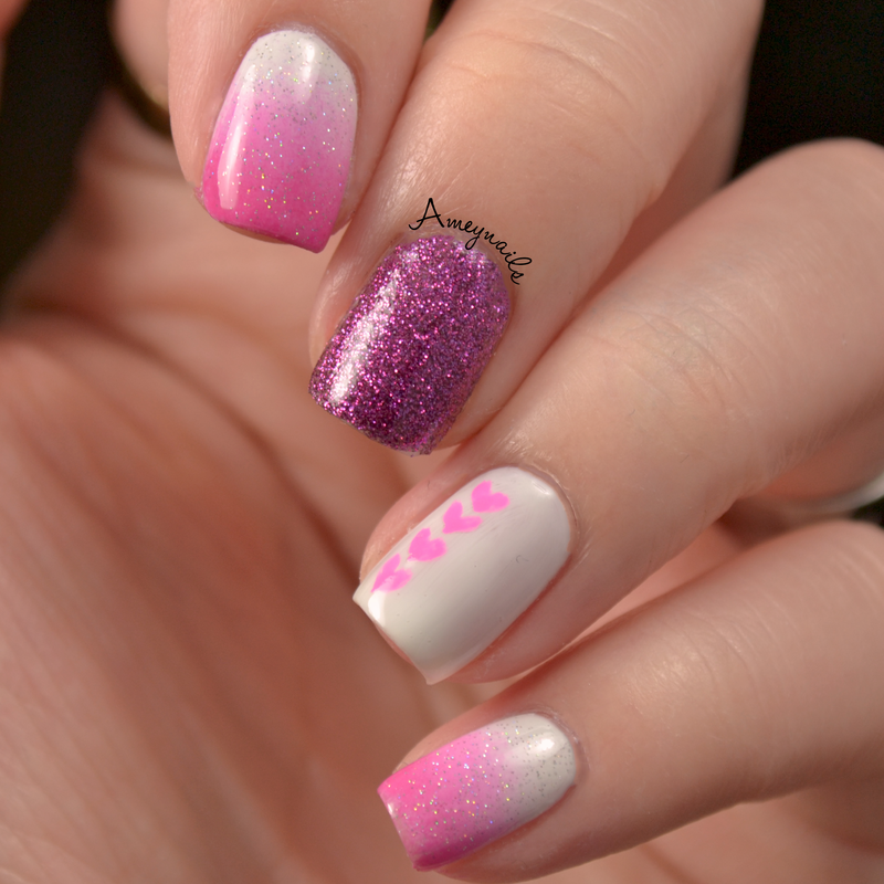 Pink Gradient nail art by Amey