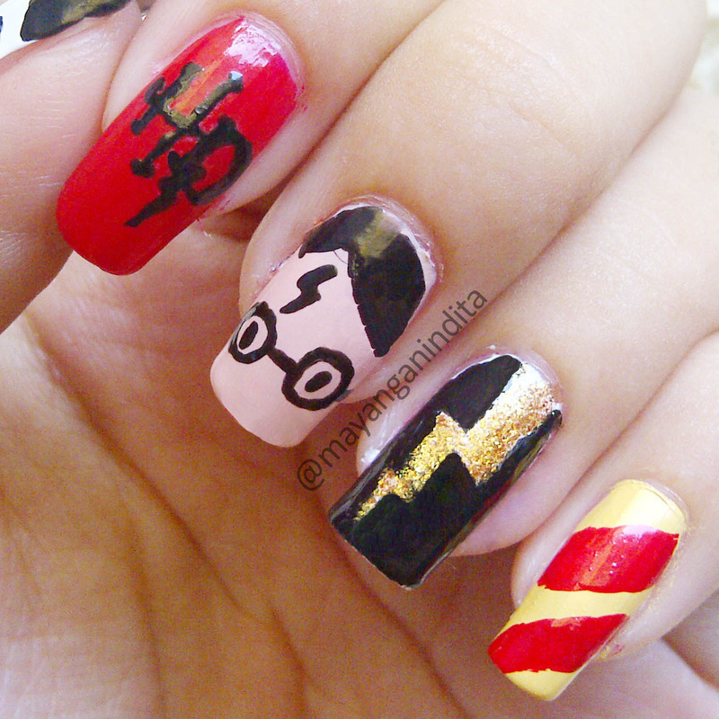 Harry Potter Inspired Manicure nail art by Mayang Anindita