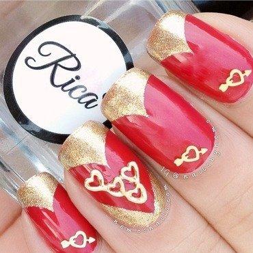 Valentine heart charm nails nail art by Atima