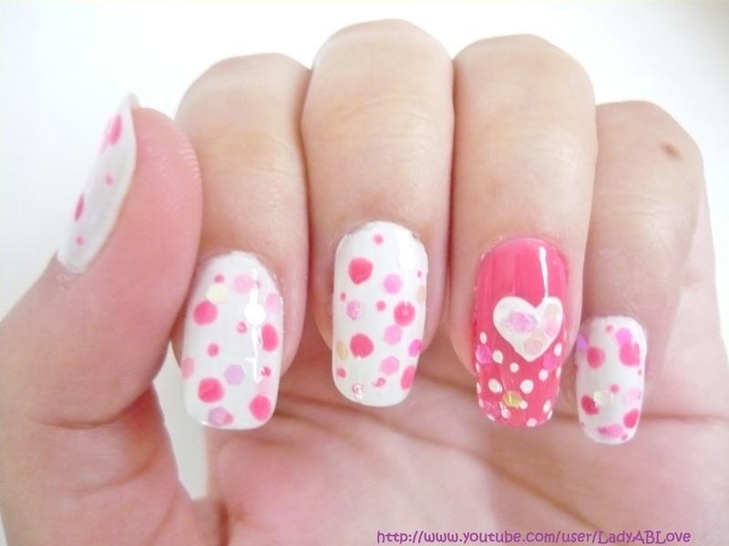 Pink Love nail art by Alejandra