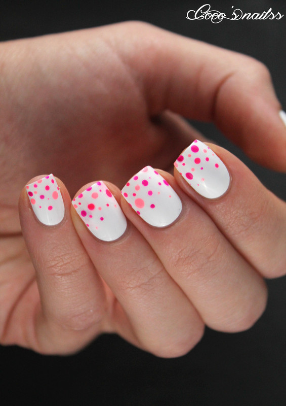 Neon dotted nail art nail art by Cocosnailss