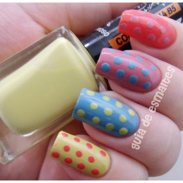Pastel Polka Dots nail art by Effy