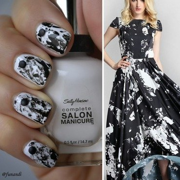Inspred by a dress nail art by Andrea  Manases