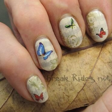 Musical butterflies nail art by Michelle
