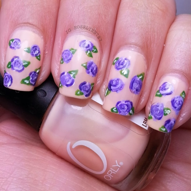 Purple Roses nail art by Rose Mercedes