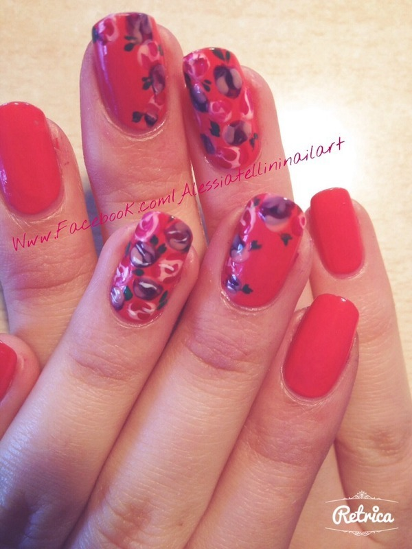 Pink roses nail art by Alessia