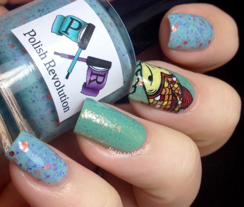 Koi Stamping Decal nail art by Nail Polish Wars