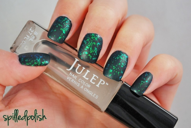 Matte Green Flakie Nails nail art by Maddy S