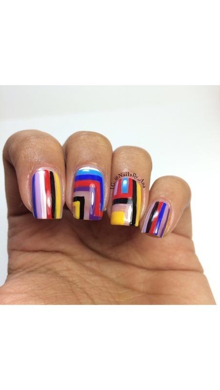 Stripe Hype nail art by Ana