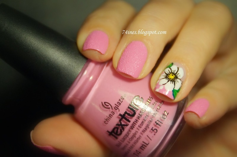 pink flower nail art by 74ines