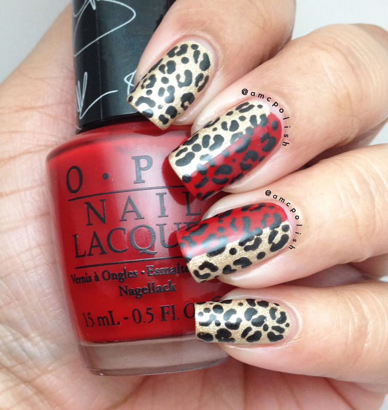 Two-toned Cheetah Prints nail art by Amber Connor