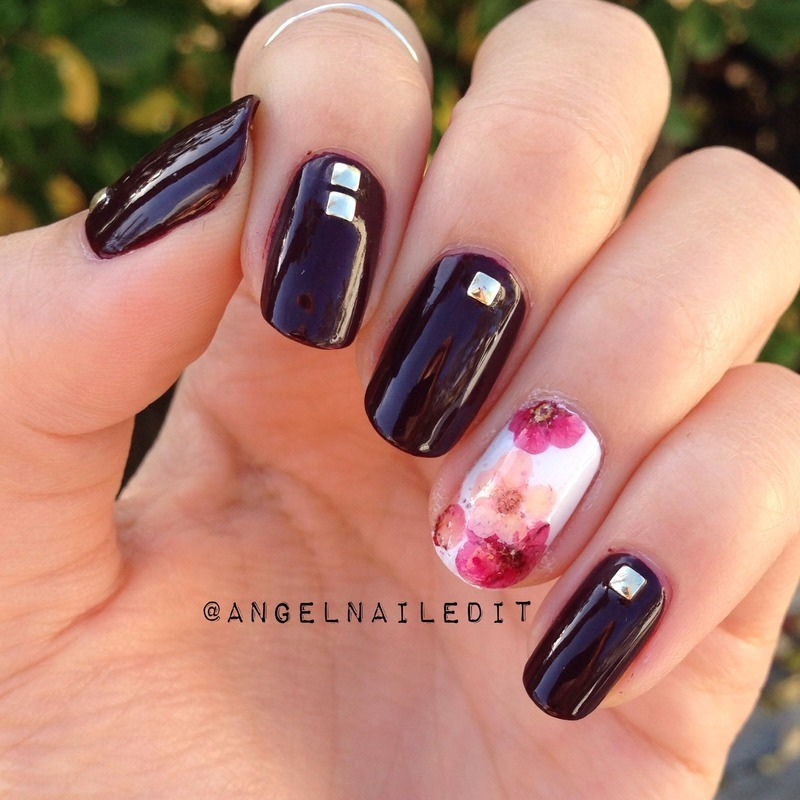 Studs and dried flowers nail art by Angel Son - Nailpolis: Museum of ...