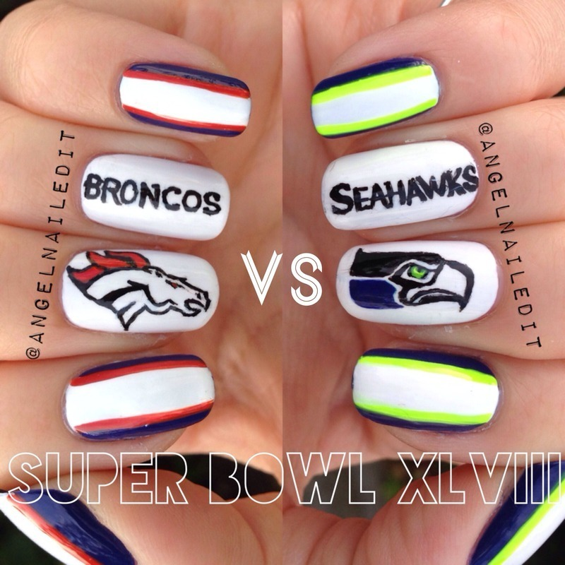 Super Bowl XLVIII nail art by Angel Son