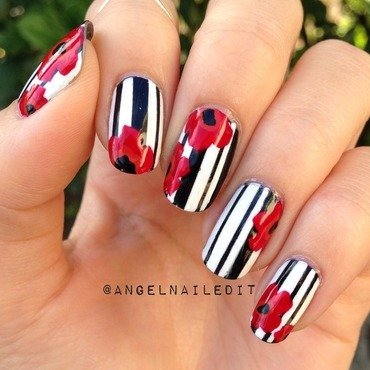 Abstract poppies and stripes nail art by Angel Son