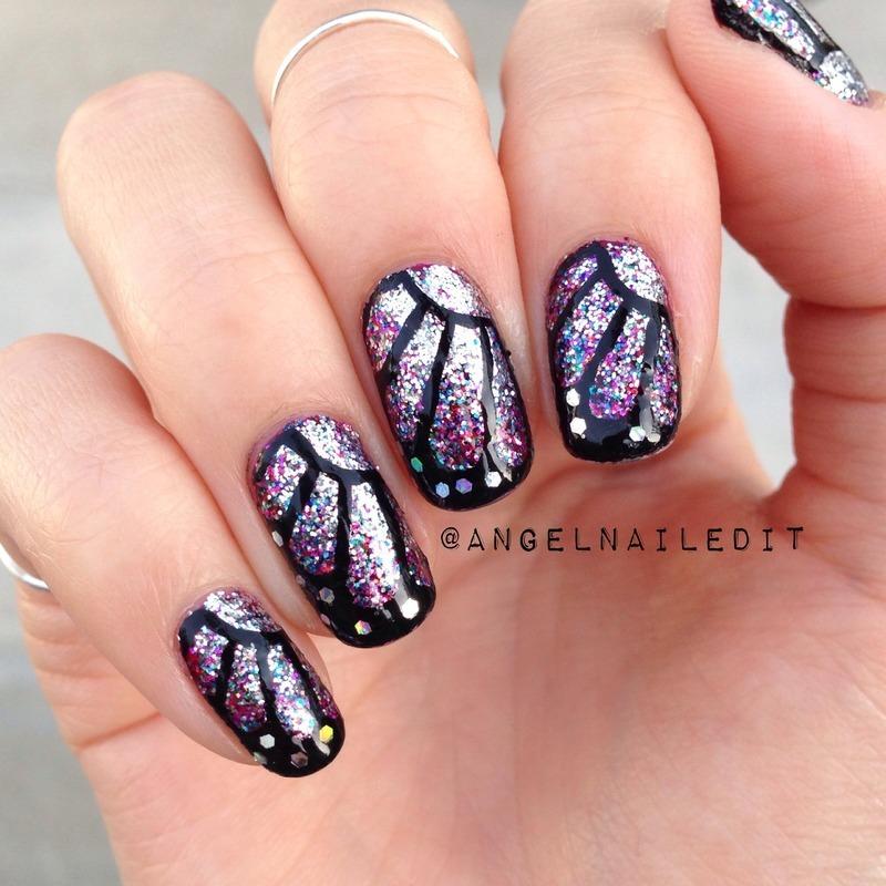 Glitter Butterfly nail art by Angel Son