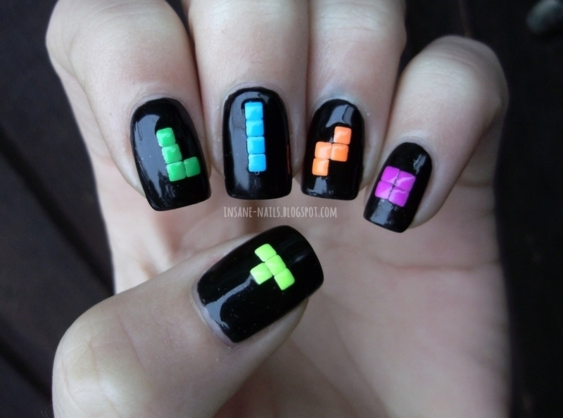 Tetris nails nail art by Sanela