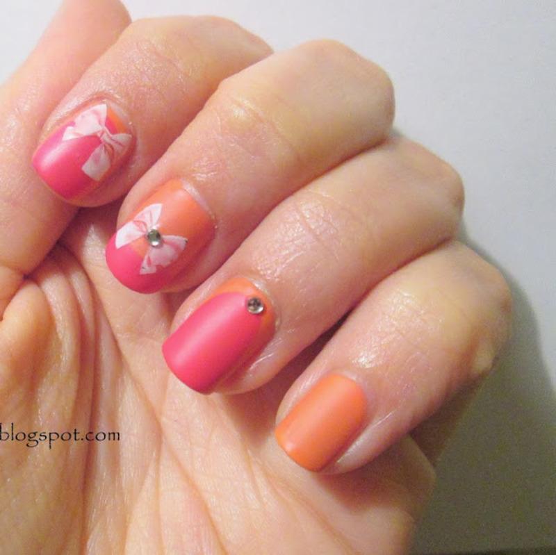 orange and pink bows nail art by Koralina