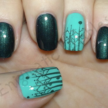 Stamped Trees nail art by Enigmatic Rambles