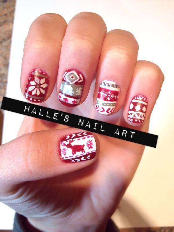 Christmas Sweater nail art by Halle Butler