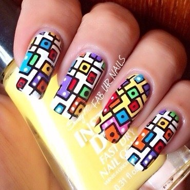 Colorful squares nail art by Johanne