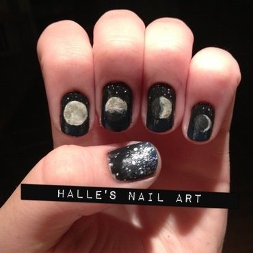 Lunar Lacquer nail art by Halle Butler