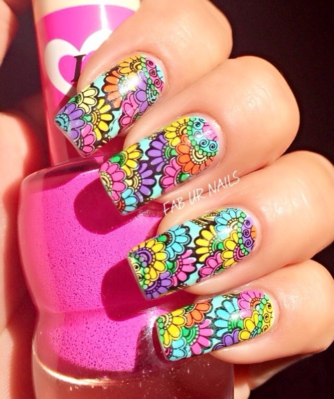 Colorful paisly nail art by Johanne