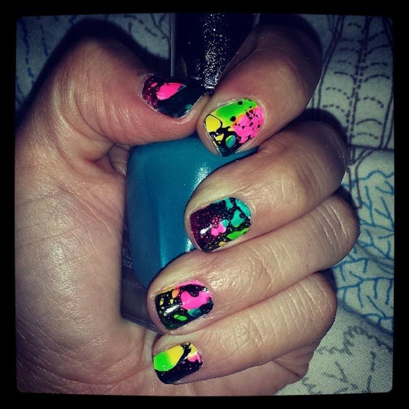 Neon Splatter nail art by Marisa