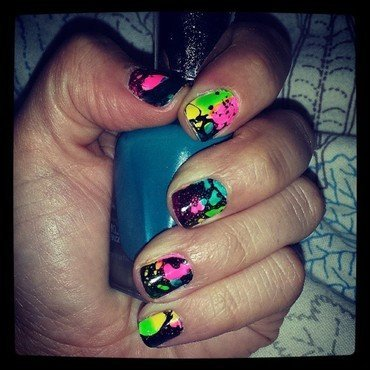 Neon Splatter nail art by Marisa