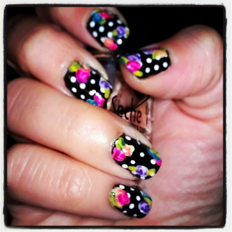 Funky Floral nail art by Marisa