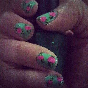 Springtime Rosettes nail art by Marisa