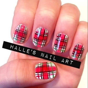 Red Plaid nail art by Halle Butler