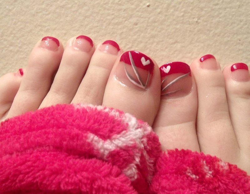 Valentine French Tip nail art by Toria Mason