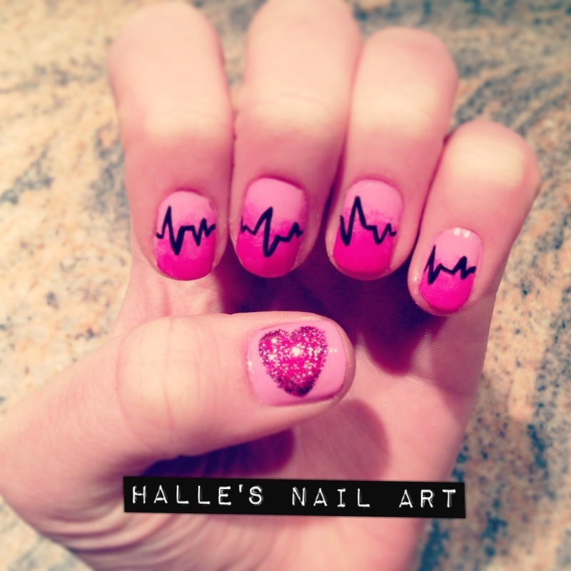 Heartbeats nail art by Halle Butler