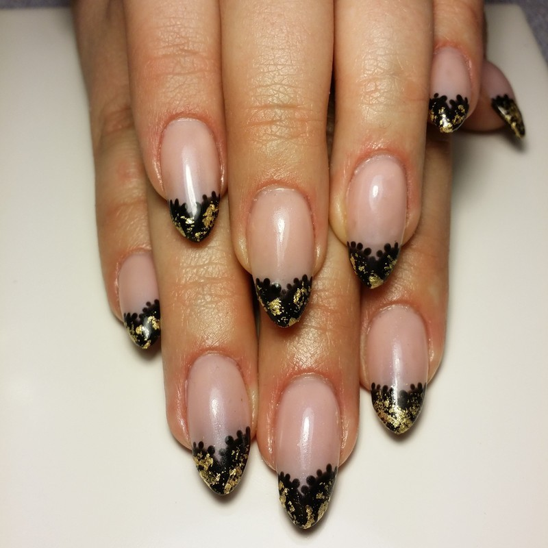 Black Lace Hearts nail art by NOMA