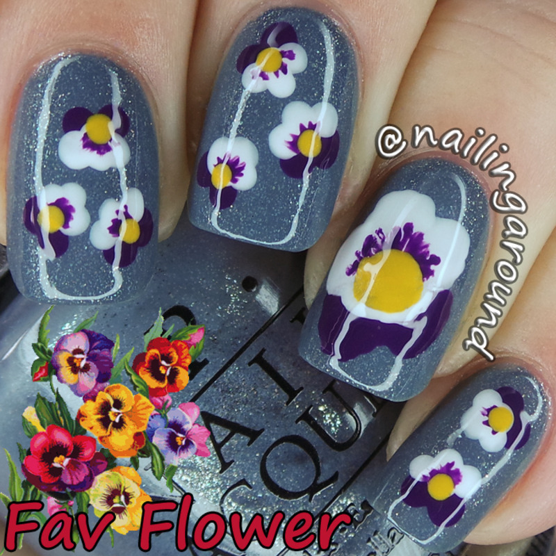 Pansy nail art by Belinda