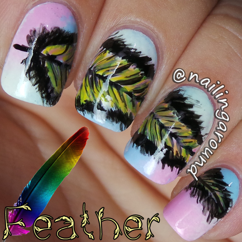 Feather nail art by Belinda