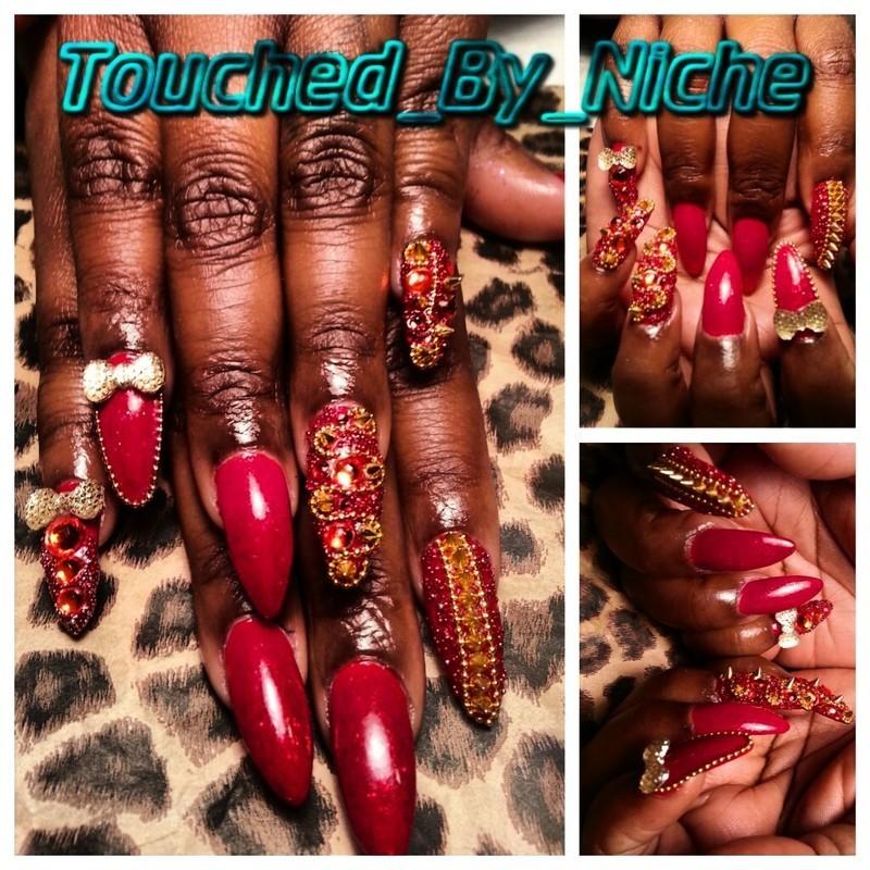 Ruby Treasure nail art by Niche