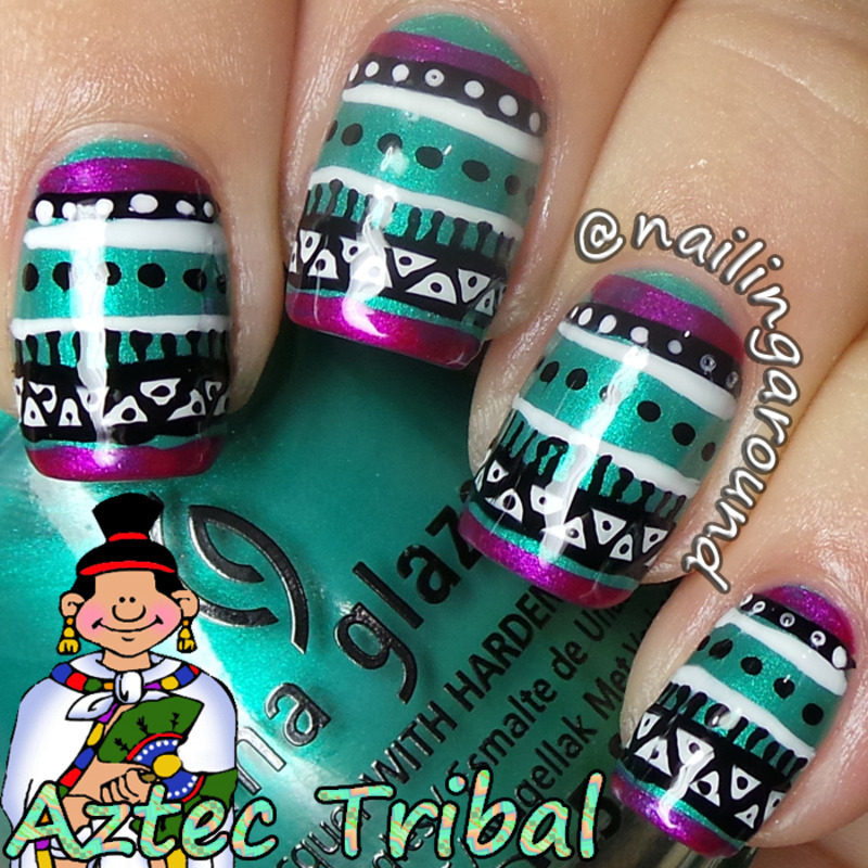 WAH Book 1 - Aztec Tribal nail art by Belinda