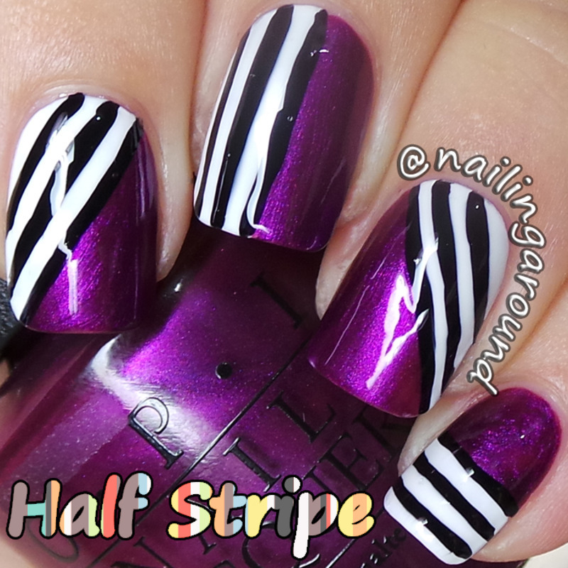 WAH Book 1 - Half Stripe nail art by Belinda