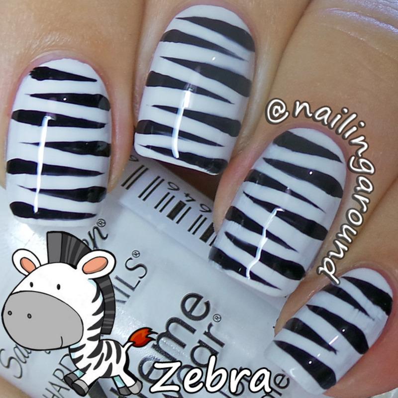 WAH Book 1 - Zebra nail art by Belinda