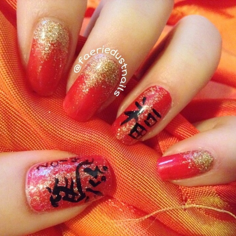 Year of The Horse nail art by Shirley X.