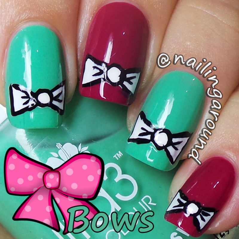 WAH Book 1 - Bows nail art by Belinda