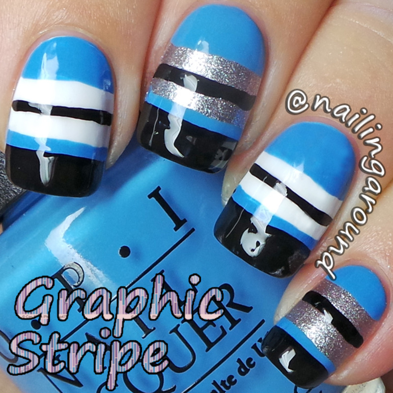WAH Book 1 - Graphic Stripe nail art by Belinda