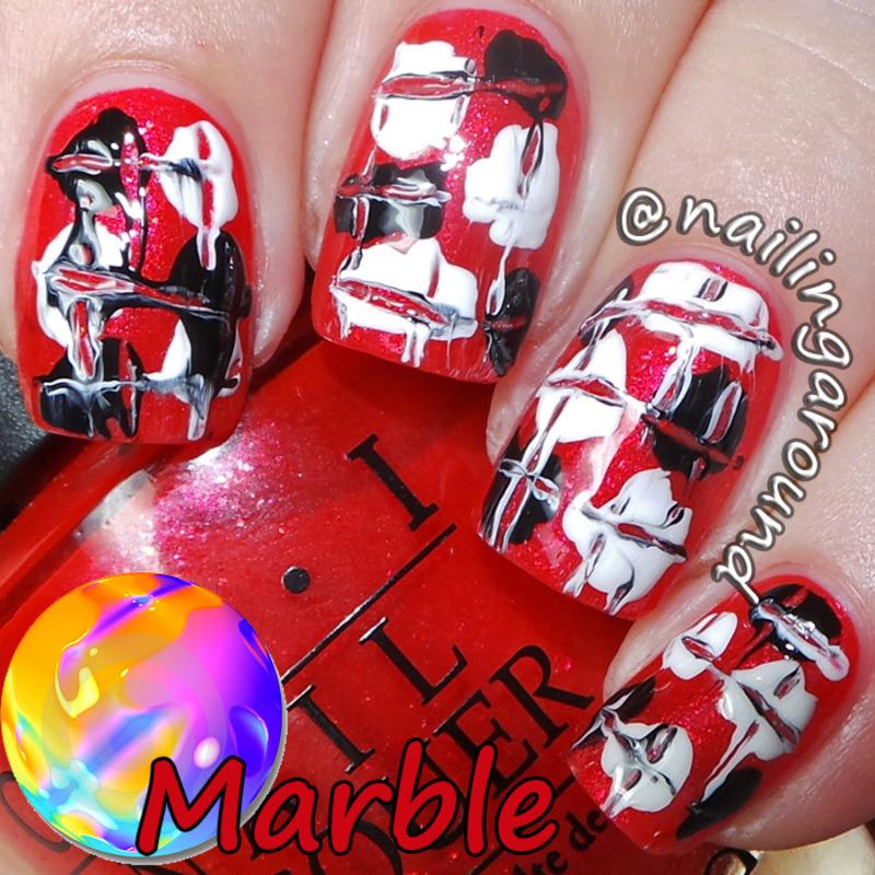 WAH Book 1 - Marble nail art by Belinda